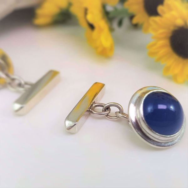 Picture of Silver agate chain cufflinks
